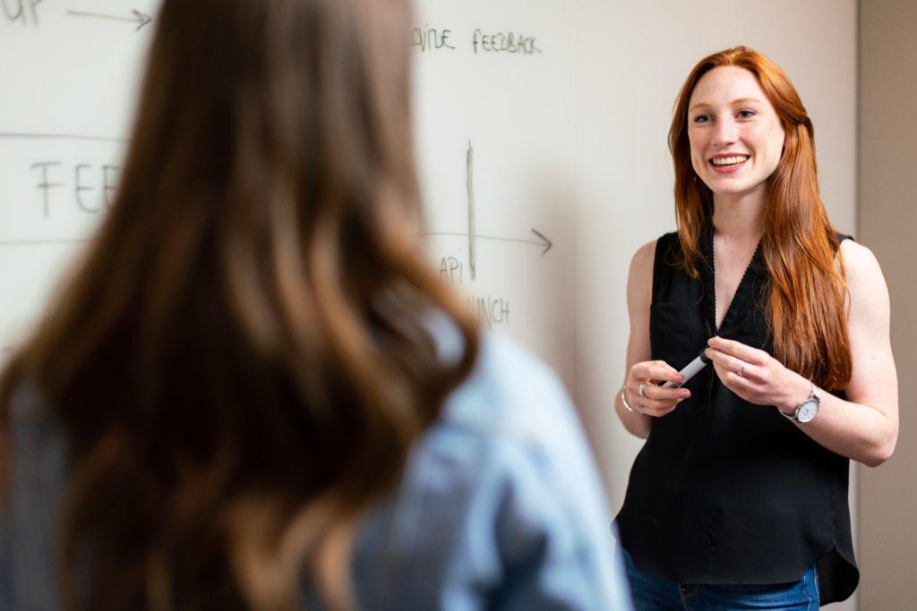 Female teacher with student.